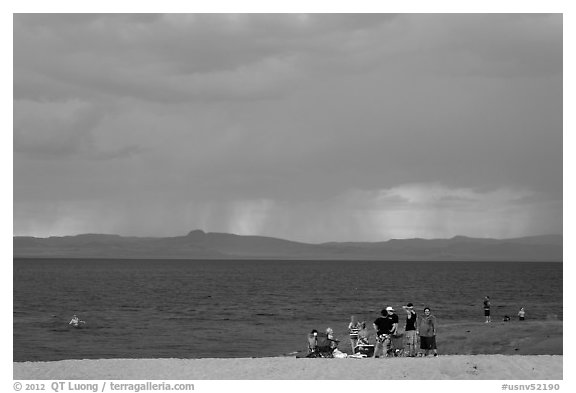 Group on lakeshore. Pyramid Lake, Nevada, USA (black and white)