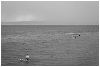 Families bathing in lake. Pyramid Lake, Nevada, USA (black and white)
