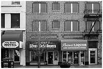 Downtown facade and businesses. Reno, Nevada, USA ( black and white)