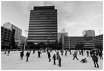 Ice rink and city hall. Reno, Nevada, USA (black and white)