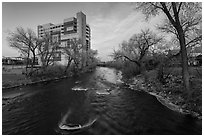 Truckee river, winter sunset. Reno, Nevada, USA ( black and white)
