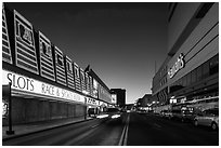 Casinos bordering street at dusk. Reno, Nevada, USA (black and white)