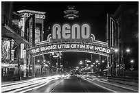 Reno Arch at night with light trails. Reno, Nevada, USA ( black and white)