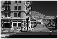 Mizpah hotel and main street. Nevada, USA (black and white)