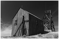 Mining structures. Nevada, USA (black and white)