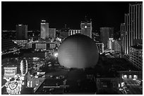 Skyline with Silver Legacy dome at night. Reno, Nevada, USA ( black and white)