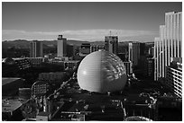 Skyline with Silver Legacy dome. Reno, Nevada, USA ( black and white)