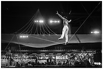 Circus act, Circus Circus casino. Reno, Nevada, USA ( black and white)