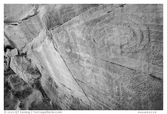 Faint petroglyphs. Gold Butte National Monument, Nevada, USA (black and white)