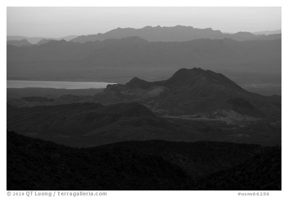 Mountain ranges at sunset. Gold Butte National Monument, Nevada, USA (black and white)