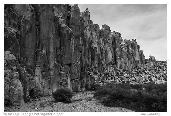 Rhyolite cliffs, White River Narrows. Basin And Range National Monument, Nevada, USA (black and white)