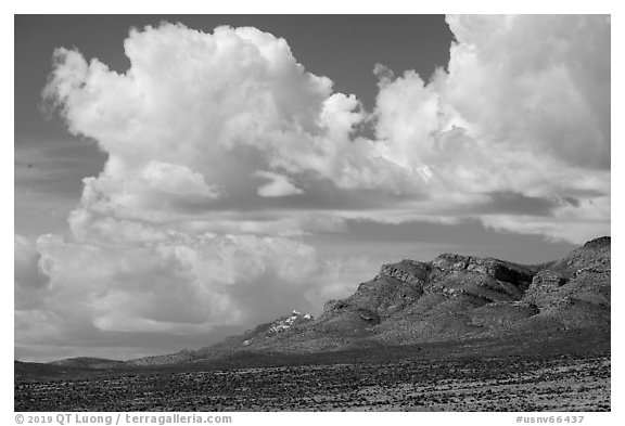 Clouds above mountain range. Basin And Range National Monument, Nevada, USA (black and white)