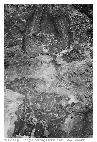 Petroglyphs, Mt Irish Archeological district. Basin And Range National Monument, Nevada, USA (black and white)
