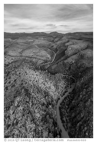 Aerial view of road and pinnacles, White River Narrows. Basin And Range National Monument, Nevada, USA (black and white)