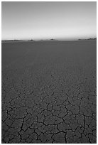 Dried mud lakebed, dawn, Black Rock Desert. Nevada, USA (black and white)
