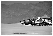 Private airplanes, Black Rock Desert. Nevada, USA (black and white)