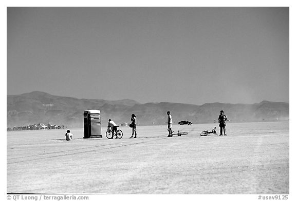 Line at the toilet, Black Rock Desert. Nevada, USA (black and white)