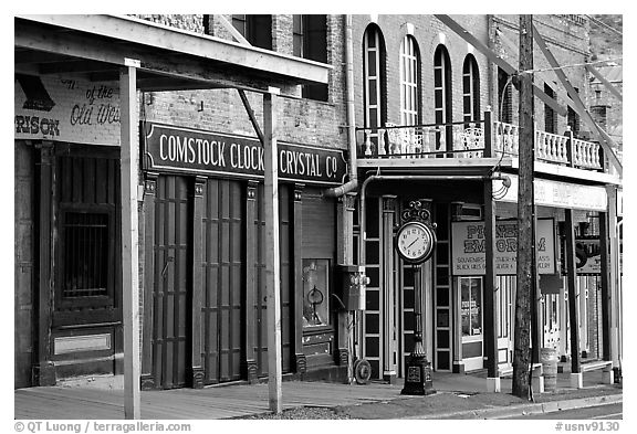 Old storefronts. Virginia City, Nevada, USA (black and white)