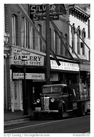 Old truck and storefronts. Virginia City, Nevada, USA (black and white)