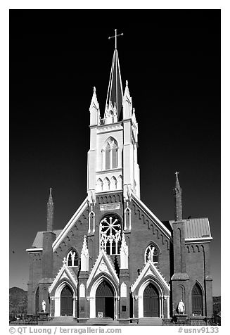 St Mary in the Mountains Church, afternoon. Virginia City, Nevada, USA (black and white)