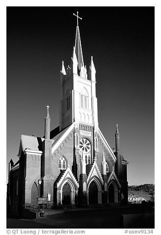 Catholic Church dating from 1876. Virginia City, Nevada, USA (black and white)