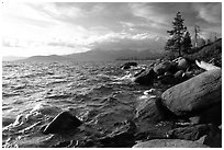 Rocky shore, Lake Tahoe, Nevada. USA ( black and white)