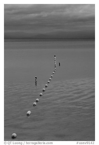 Orange Buoy line, blue hour, South Lake Tahoe, California. USA (black and white)
