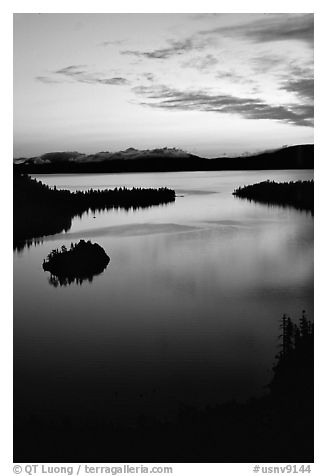 Emerald Bay, dawn, Lake Tahoe, California. USA (black and white)