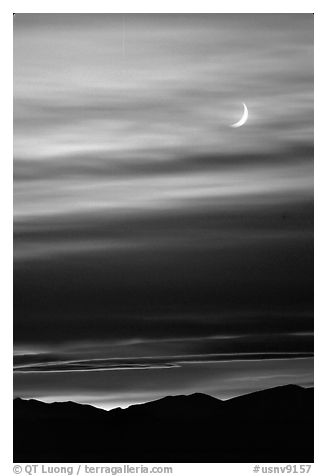Crescent moon and mountain range. Nevada, USA (black and white)
