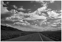 Road converging to the horizon. Nevada, USA (black and white)