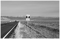Sign reading Loneliest road in America. Nevada, USA (black and white)