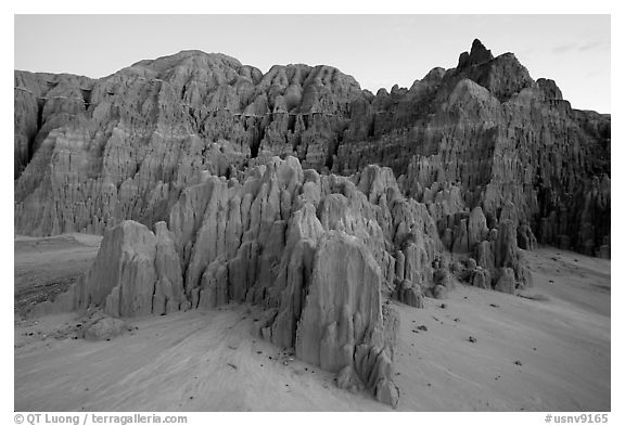 Erosion formation in the soft bentonite clay, Cathedral Gorge State Park. Nevada, USA (black and white)
