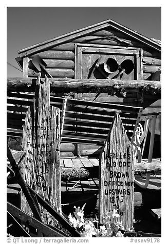 Cabin with old mining equipment, Pioche. Nevada, USA (black and white)