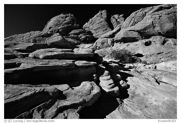 Red sandstone formations, Red Rock Canyon. Red Rock Canyon, Nevada, USA (black and white)