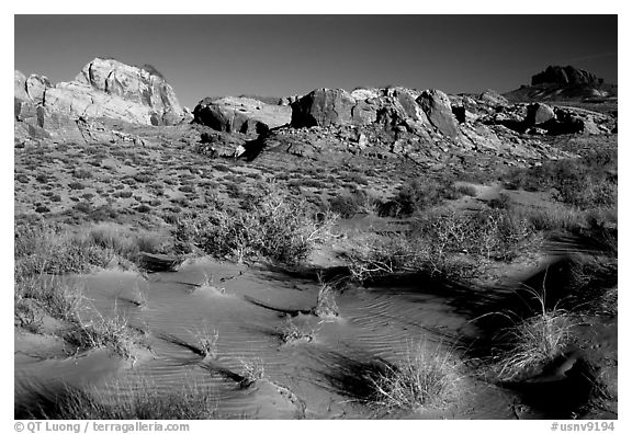 Sand ripples and rock formations, Valley of Fire State Park. Nevada, USA (black and white)