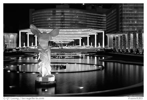 Caesar's Palace casino by night. Las Vegas, Nevada, USA (black and white)