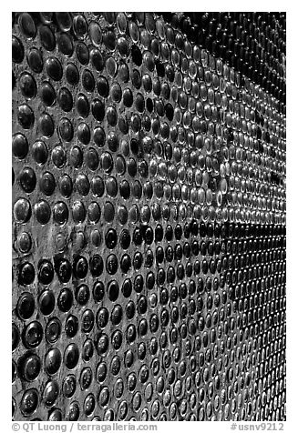 Bottles making up a wall, Rhyolite. Nevada, USA (black and white)