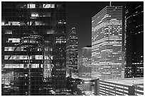 Downtown at night. Houston, Texas, USA ( black and white)