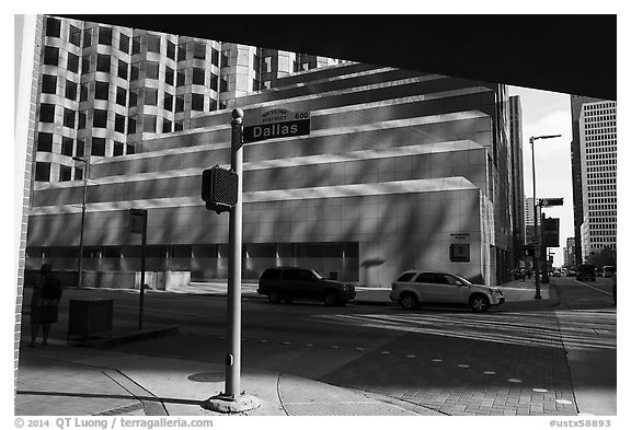 Skyline District Street. Houston, Texas, USA (black and white)