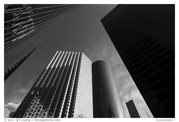 Looking up Skyline District skyscrapers. Houston, Texas, USA (black and white)
