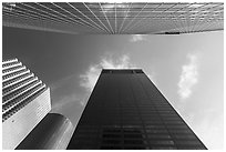 Looking up downtown skyscrapers. Houston, Texas, USA ( black and white)