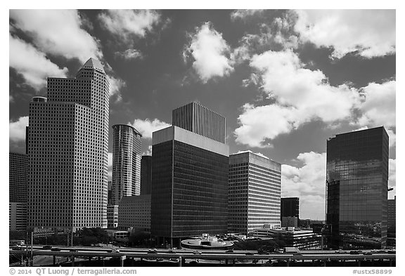 Freeway and Skyline District. Houston, Texas, USA (black and white)