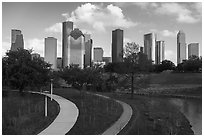 Park and downtown skyline. Houston, Texas, USA ( black and white)