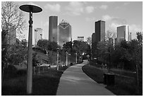Path in park and skyline. Houston, Texas, USA ( black and white)
