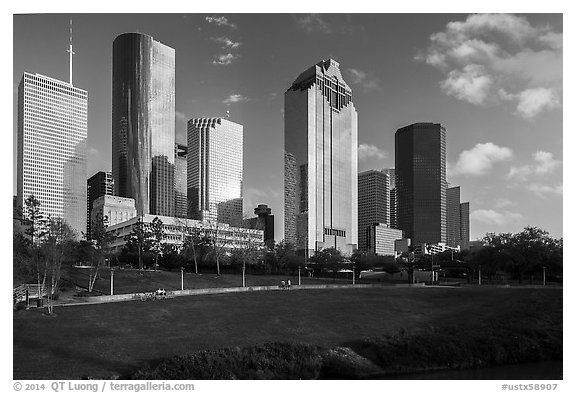 Lawn and Skyline District. Houston, Texas, USA (black and white)