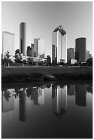 Skyscrapers and reflections. Houston, Texas, USA ( black and white)