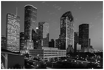Skyline with lights at dusk. Houston, Texas, USA ( black and white)
