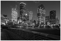 Skyline from footbridge at night. Houston, Texas, USA ( black and white)