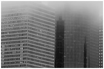 Top of high-rise buildings capped by fog. Houston, Texas, USA ( black and white)