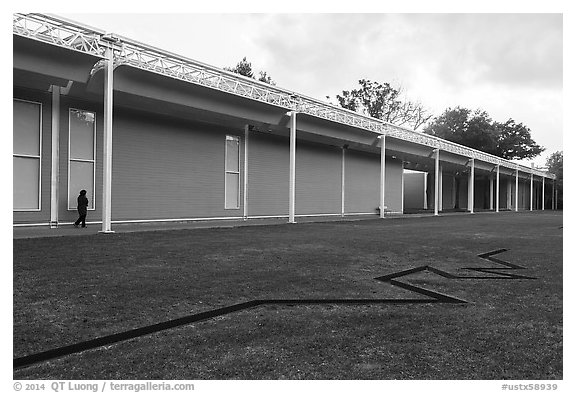 Main Menil Collection building. Houston, Texas, USA (black and white)
